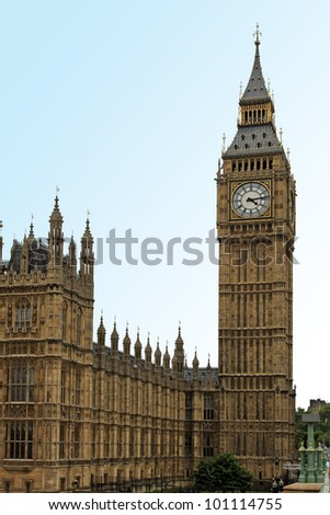 Famous London landmark Big Ben clock tower - stock photo