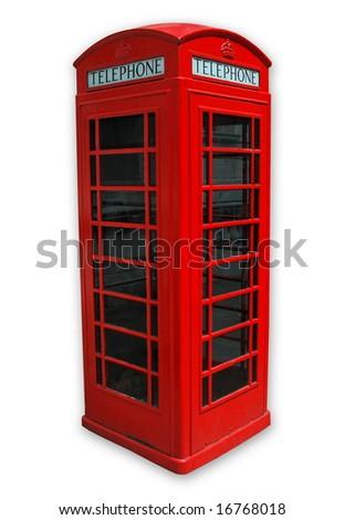 Famous London Phone on white background . - stock photo