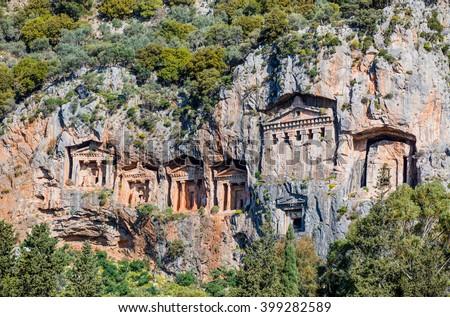 Famous Lycian Tombs of ancient Caunos city, Dalyan, Turkey - stock photo