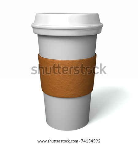 Famous maker style paper coffee cup with insulation paper and plastic lid - stock photo