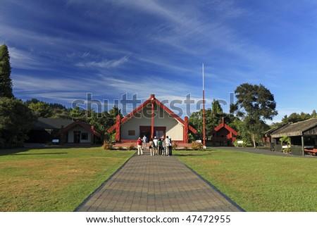 famous Maori house in Rotorua maori center, rotorua,new zealand - stock photo