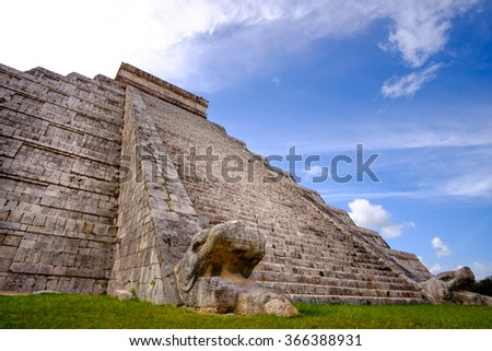 Famous Mayan pyramid in Chichen Itza with stone stairs, Mexico - stock photo