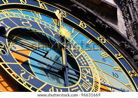Famous medieval astronomical clock in Prague, Czech Republic - stock photo