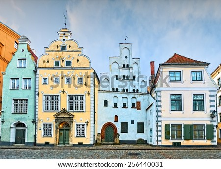 Famous medieval buildings in old Riga city, Latvia - stock photo