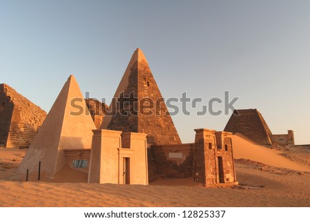 Famous Meroe pyramids surrounded with dunes. Sud