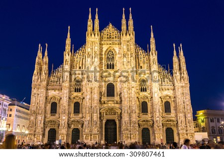 Famous Milan Cathedral, Duomo in a beautiful summer night in Milan, Italy. - stock photo
