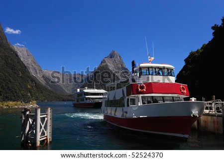 Famous Milford Sound and Mitre Peak, New Zealand - stock photo