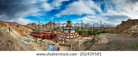 Famous monastery in Tibet (Gyantse) - stock photo