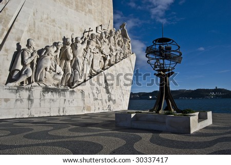 famous monumemt for the discoveries in Belem - stock photo
