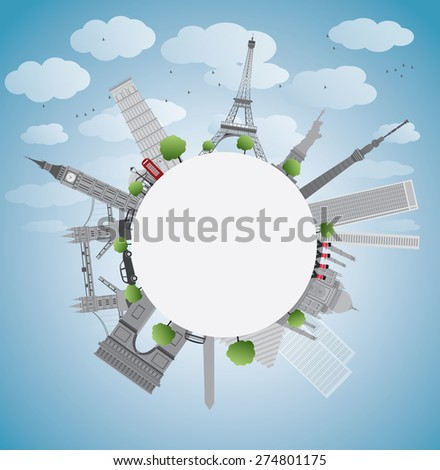 Famous monuments and landmarks around the world. illustration with copy space - stock photo