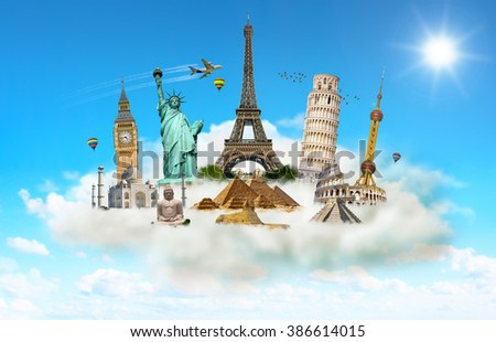 Famous monuments of the world grouped together in a cloud - stock photo
