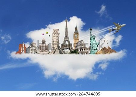 Famous monuments of the world grouped together on a cloud - stock photo