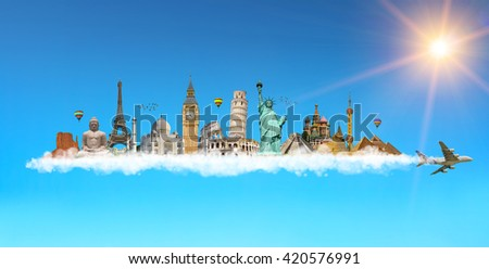 Famous monuments of the world grouped together on plane smoke in blue sky - stock photo