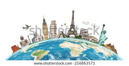 Famous monuments of the world grouped together on the planet Earth