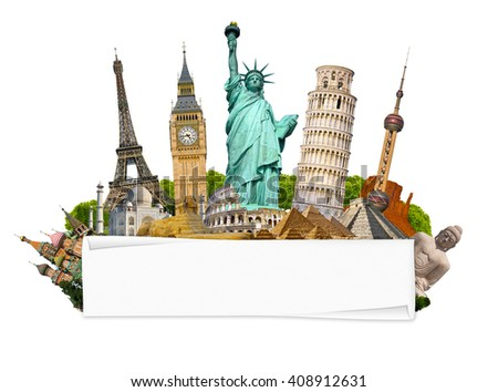 Famous monuments of the world grouped together with blank rolled paper on white background - stock photo