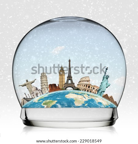 Famous monuments of the world in a snowball - stock photo