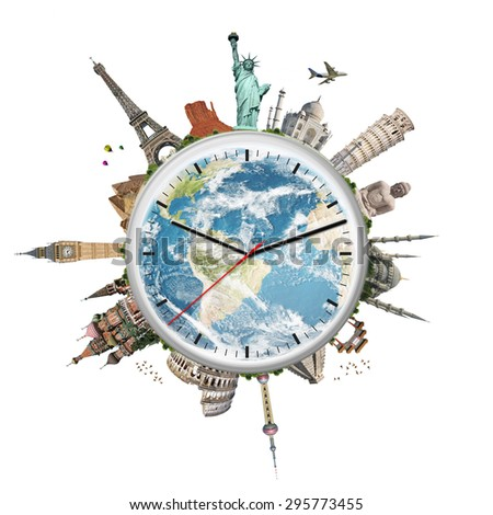 Famous monuments of the world surrounding a clock - stock photo