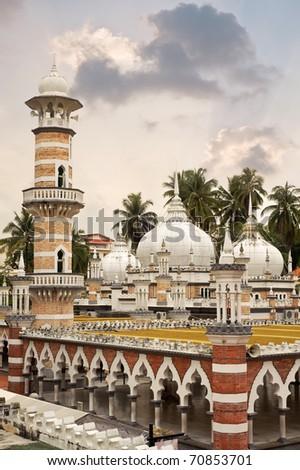 Famous mosque, Masjid Jamek, in Kuala Lumpur, Malaysia, Asia. - stock photo
