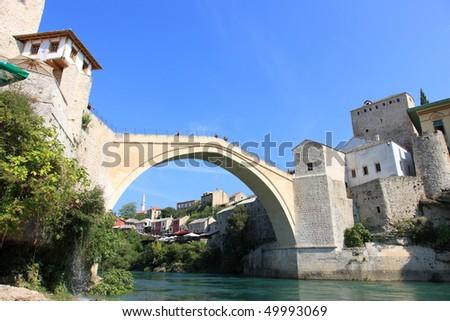 Famous Mostar Bridge Stari Most in Bosnia (World Heritage List) - stock photo
