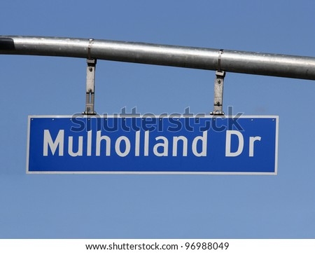Famous Mulholland Drive sign in the hills above Hollywood California - stock photo