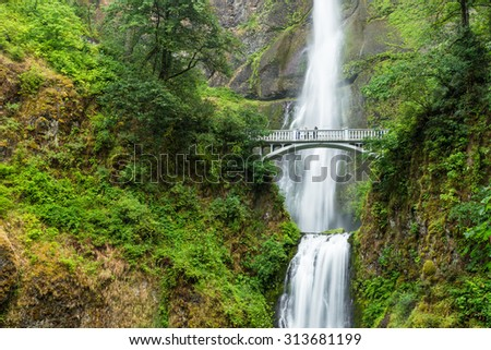 Famous Multnomah falls in Columbia river gorge, Oregon. - stock photo