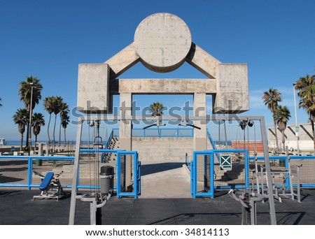 Famous Muscle Beach.  Los Angeles City Park workout facility in Venice California. - stock photo