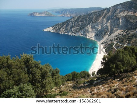 Famous Myrtos beach in the region Pylaros in north-west of Kefalonia island, Ionian Sea, Greece  - stock photo