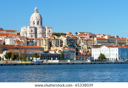 Famous National Pantheon in Lisbon, Portugal (View from Tagus river) - stock photo