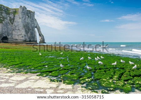 Famous natural cliffs in Etretat. Etretat is a commune in Seine-Maritime department in Haute-Normandie region in France. Etretat is now a famous French seaside resort - stock photo