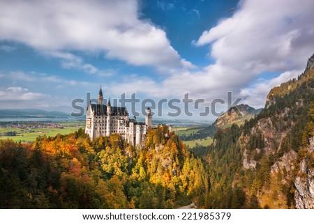 Famous Neuschwanstein castle in Bavaria,  Germany - stock photo