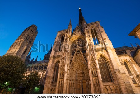 Famous Notre-Dame de Rouen cathedral at twilight, Rouen, France - stock photo