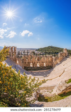 Famous Odeon theatre in Athens, Greece, view from Acropolis - stock photo