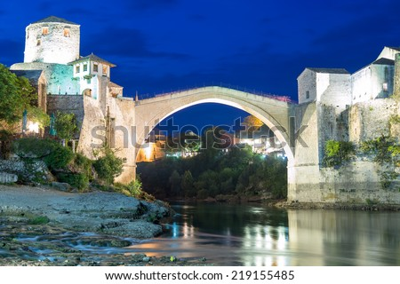 Famous Old Bridge in Mostar by night, Bosnia and Herzegovina - stock photo