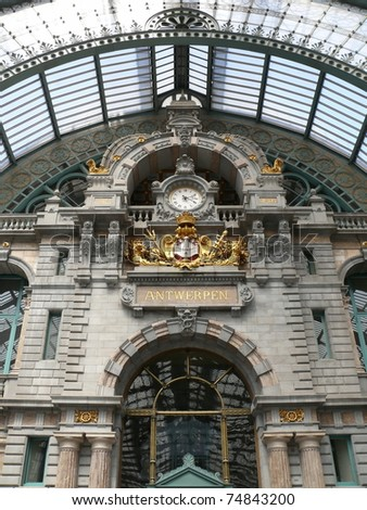 Famous old clock on the facade of the old beautiful railway station in Antwerp. Belgium. More of this motif & more Belgium in my port.