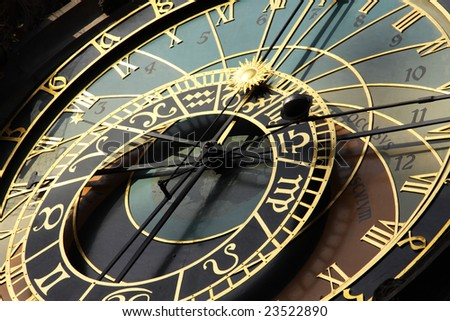 famous old medieval astronomical clock in Czech capital Prague - stock photo