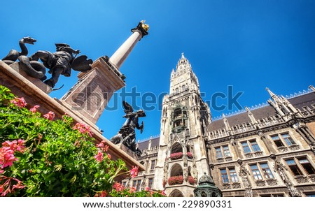 famous old munich city hall - germany - stock photo
