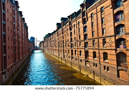famous old Speicherstadt in Hamburg, build with red bricks