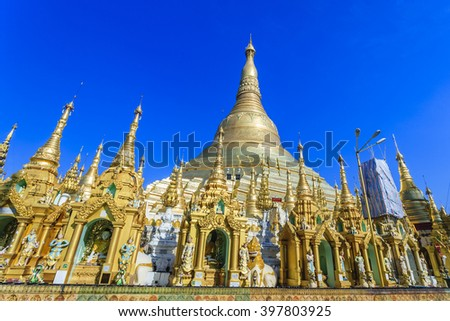 Famous pagoda at Yangon city, Burma - stock photo