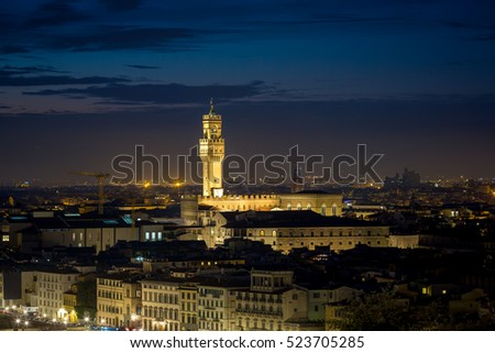 Famous Palazzo Vecchio in Florence after sunset