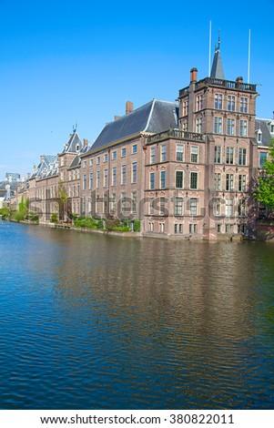Famous parliament and court building complex Binnenhof in Hague - stock photo