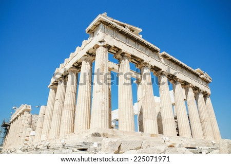 Famous Parthenon temple in the Acropolis, Athens, Greece. - stock photo