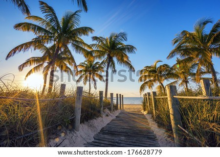 Famous passage to the beach - Key West  - stock photo