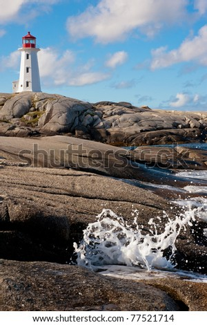Famous Peggys Point Light in in Peggys Cove, Nova Scotia - stock photo