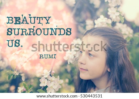famous Persian poet and philosopher quote about beauty printed over image with child girl between blossom tree branches