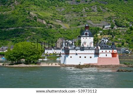 famous Pfalzgrafenstein castle ( World culture heritage ) in rhine valley - stock photo