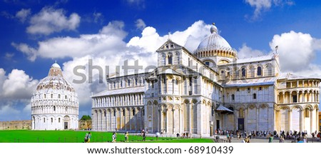 Famous Piazza Dei Miracoli Square of Miracles in Pisa, Italy - stock photo