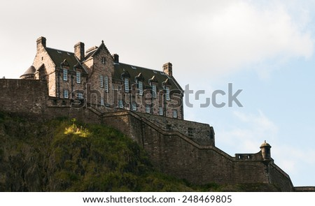 Famous picturesque Edinburgh castle in Scotland, Uk. - stock photo