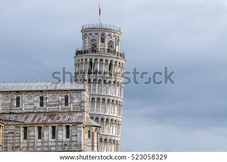famous pisa leaning tower close up detail view