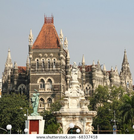 Famous place of Bombay: Square of Flora Fountain called also Martyr's Square, India - stock photo
