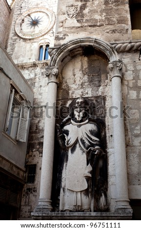 Famous place of the old city center in Split, the largest coastal city in Croatia. - stock photo